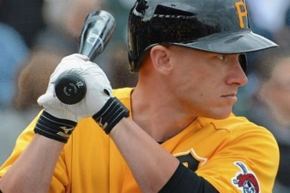 Clint Barmes bats Sunday against the Astros at McKechnie Field in Bradenton, Fla. The Pirates won, 8-6.