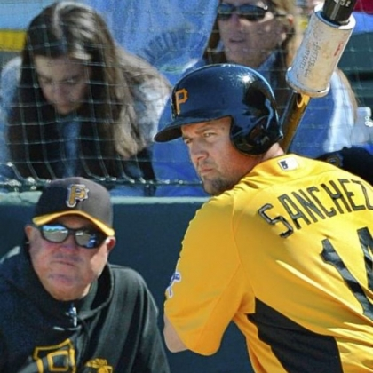 Pirates first baseman Gaby Sanchez is off to a strong start in spring training, batting .417.
