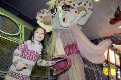 Avery Peters, 4, dances with a puppet.
