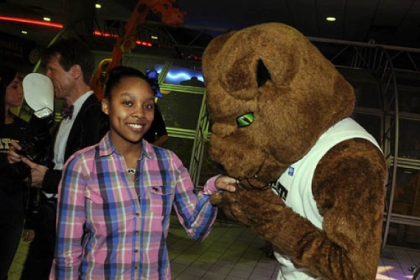 Sydney Moore with the Pitt Panther.