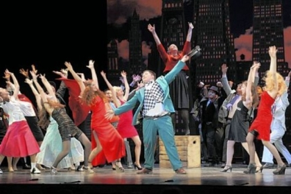 "The cast of ""Guys and Dolls"" from Quaker Valley High School performs ""Sit Down, You're Rockin' the Boat"" at the 2012 Gene Kelly Awards at the Benedum Center on May 26. The show won as best musical in budget category I."