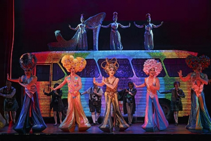 """Priscilla Queen of the Desert"" stars -- center from left, Wade McCollum, Scott Willis and Bryan West -- perform in the number ""I Will Survive."""