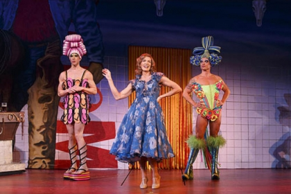 "Wade McCollum, left, as Mitzi, Scott Willis as Bernadette and Bryan West as Felicia in the number ""I Love the Night Life"" from the national tour of ""Priscilla Queen of the Desert."""