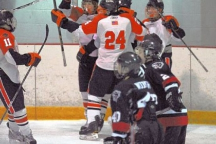Bethel Park celebrates its second goal of the first period in what turned into an onslaught as the Black Hawks routed Upper St. Clair, 5-1.