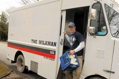 Jeff Brunton, &quot;The Milkman,&quot; makes a delivery on his route in Moon.