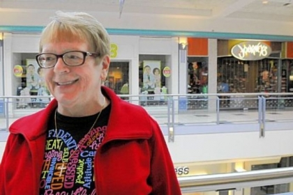 Linda Hauger waits for Mall Walkers to start moving.
