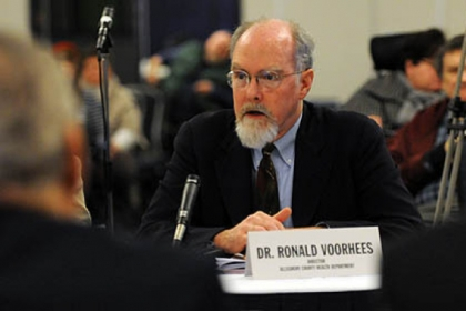 Ronald Voorhees, interim director of the Allegheny County Health Department, testifies Friday at a public hearing on Medicaid expansion at the Wyndham University Center in Oakland.