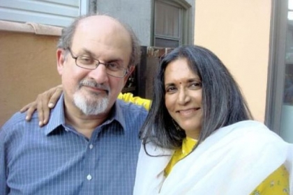 "Novelist and screenwriter Salman Rushdie, left, and Deepa Mehta, director of ""Midnight's Children."" The movie will open the Silk Screen Film Festival in May."