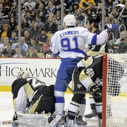 The Lightning's Steven Stamkos scores against Marc-Andre Fleury in the second period Monday at Consol Energy Center. Defending in front of the net will be a big priority for the Penguins in the second half of the season.