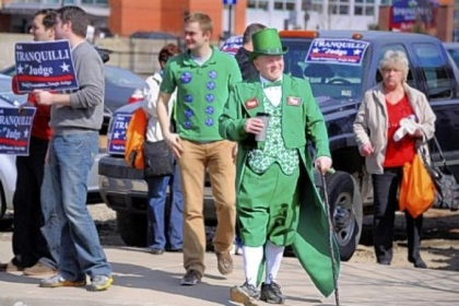 Kevin Larkin of Verona sports a leprechan suit as he strolls through the crowd endorsing P.J. Murray for Common Pleas judge during the Allegheny County Democratic Committee's endorsement meeting, held Sunday afternoon at the IBEW building on the South Side.
