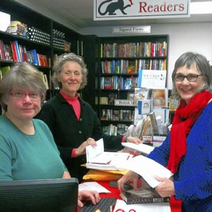 Buff Rodman, left, and Margo Naus, center, remained as booksellers at Mystery Lovers Bookshop in Oakmont after Laurie Stephens, right, purchased the store last year.