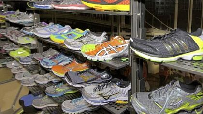 The footwear wall at True Runner on Walnut Street in Shadyside.