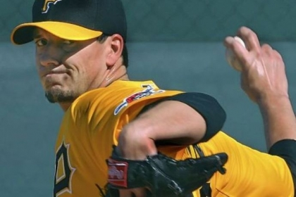 Charlie Morton throws off the mound Monday at Pirate City in Bradenton, Fla. Morton faced hitters for the first time since May 29 when he was injured and had Tommy John surgery.