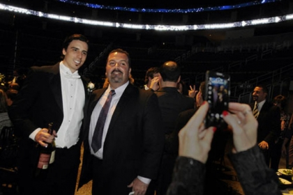 Marc-Andre Fleury poses with Kevin Lowerre.