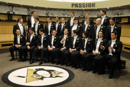 Pitsburgh Penguins Skates & Plates at Consol Energy Center --  The team group shot in the locker room.