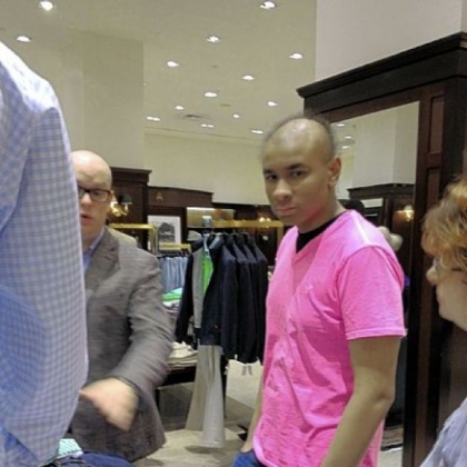 Sidney Barlow, 18, of Springdale enjoys a shopping spree at Brooks Brothers, Downtown, thanks to the Make-A-Wish Foundation of Greater Pennsylvania & Southern West Virginia.  Sidney was diagnosed a year ago with acute myeloid leukemia.