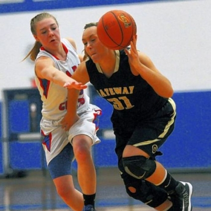 Chartiers Valley&#039;s  Karley O&#039;Keefe, left, guards Gateway&#039;s Katey Wilson in a Class AAAA second-round game Tuesday. Chartiers Valley rolled to a 53-42 win, setting up a WPIAL semifinal rematch vs. Mt. Lebanon.
