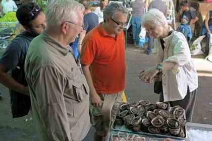 The writer, right, examines a Chilean &quot;abalone,&quot; called &quot;el loco&quot; -- a snail so tasty that global demand nearly wiped it out.