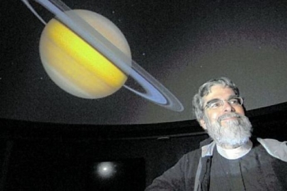 Bob Donaldson/Post-GazetteVatican astronomer Brother Guy Consolmagno in the Angelo Taiani planetarium of the Dupre Science Pavilion at Saint Vincent College in Unity.