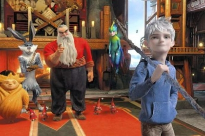 "Sandman, left, Bunnymund (voice of Hugh Jackman), North (Alec Baldwin) and Tooth (Isla Fisher) need the help of Jack Frost (Chris Pine) to defeat a villain in ""Rise of the Guardians."""