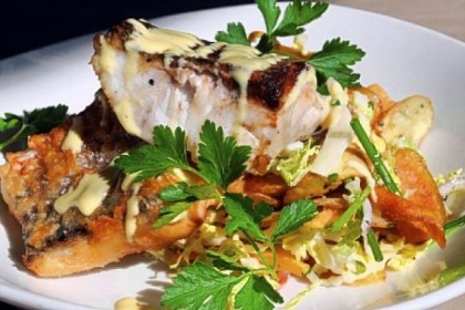 Wild striped bass fish & chips, Napa slaw, malt aioli served at Avenue B in Shadyside.
