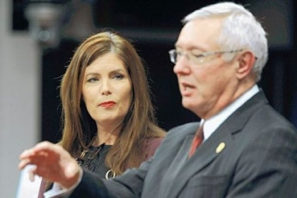 Pennsylvania Attorney General Kathleen Kane, left, and Pennsylvania State Police Commissioner Frank Noonan conduct a news conference Wednesday in Harrisburg.