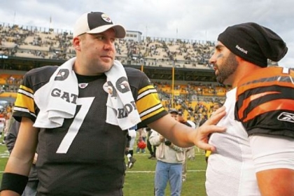 Big Ben&#039;s new backup Bruce Gradkowski, then with the Cincinnati Bengals, talks with Roethlisberger after a 2011 game at Heinz Field. Gradkowski, who grew up in Dormont signed a three-year deal Wednesday with the Steelers.