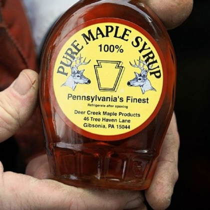 His Deer Creek Maple Products include syrup, maple sugar, even maple mustard.