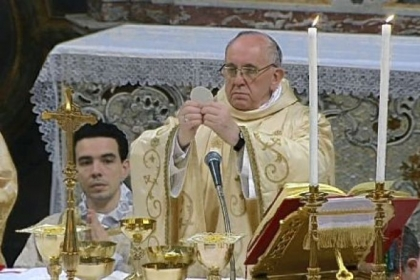 Pope Francis celebrates his inaugural Mass with the cardinals Thursday inside the Sistine Chapel at the Vatican.