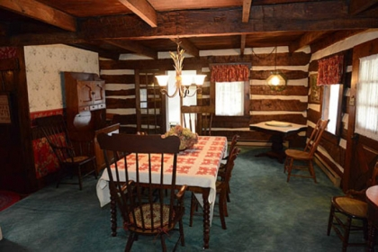 The dining room was the main room of the original section of this log house in Hempfield, built in 1813 and part of the 1780 land grant from William Penn.