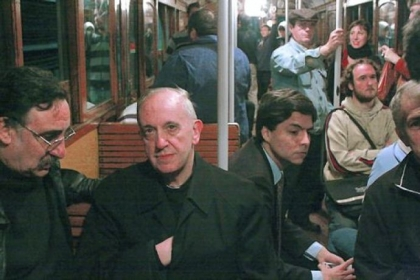 Cardinal Jorge Mario Bergoglio, now Pope Francis, riding the subway in Buenos Aires, Argentina.