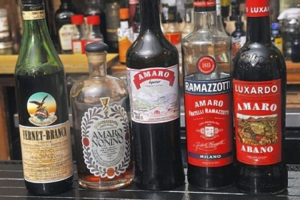 A selection of Amaro liqueurs at Acacia.