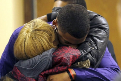 Malik Richmond, 16, and his mother, Daphne Birden, after closing arguments Saturday in his juvenile trial with co-defendant Trent Mays, 17, on rape charges in Steubenville, Ohio. Judge Thomas Lipps said he would render a decision this morning.