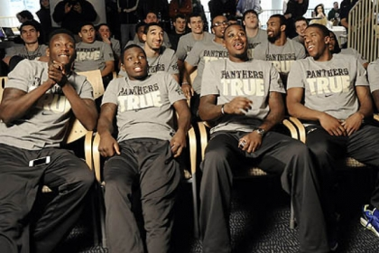 Pitt basketball players react at the Petersen Events Center Sunday as their seeding for the NCAA is announced.