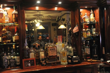 The Price's custom built bar.