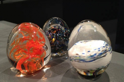 Glass eggs.