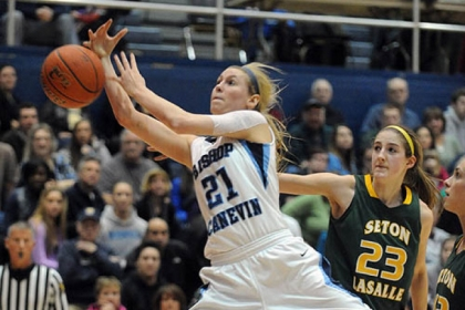 Bishop Canevin guard Erin Waskowiak is fouled as she drives to the hoop Tuesday night against Seton-LaSalle.