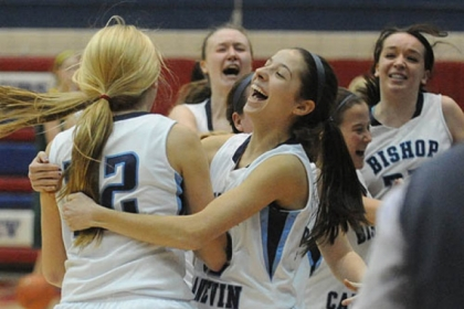 Bishop Canevin teammates celebrate after beating Seton-LaSalle and earning a trip to the PIAA championship.