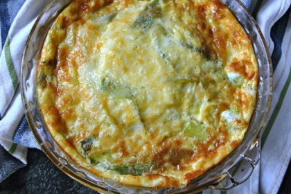 Crustless Leek and Gruyere Quiche.