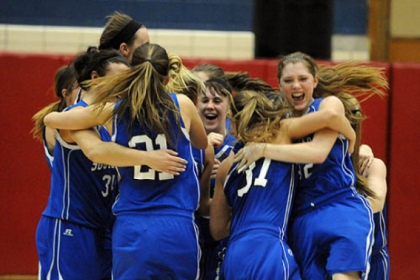 South Park celebrates after beating Blackhawk, 63-59, in the PIAA Class AAA girls semifinals.