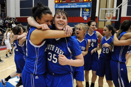 Breanna Raymond, left, and Allison McGrath of South Park celebrate after defeating Blackhawk, 63-59, and earning a spot in the PIAA Class AAA championship.