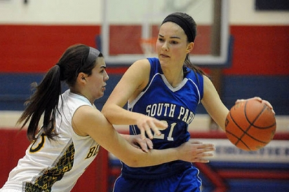 South Park's Halie Torris handles the ball against Blackhawk Tuesday night in the PIAA Class AAA semifinals.