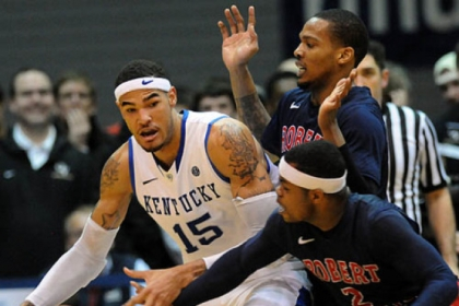 Velton Jones spearheads a defensive effort against Kentucky's Willie Cauley-Stein in the first half of Robert Morris' upset victory in the NIT first round Tuesday night at Sewall Center.