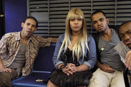 "Jonathan Ortiz, Left, Teresa Lynn, Raymond Delgado and Michael Brodie are teenagers on their last day of school, riding a New York City bus from the Bronx, in ""The We and the I,"" directed by Michel Gondry."