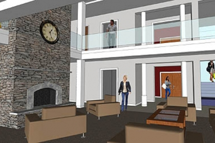 As part of a new dormitory facility planned for Western Pennsylvania School for the Deaf, each housing pod will house eight students and contain individual bedrooms with a common living area, kitchen and work space with Internet access. About 40 percent of the school's students live in the residence halls.