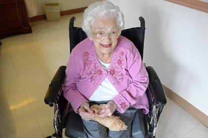 Dorothy Kennedy, 101, a resident of North Hills Health & Rehabilitation Center in Pine, has made more than 1,000 caps for cancer patients.