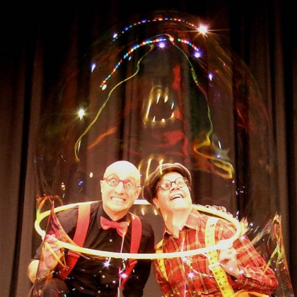 "Circus performers Casey Carle and Doug Rougeux bring ""Bubble Time"" to the Byham Theater Friday and Saturday."