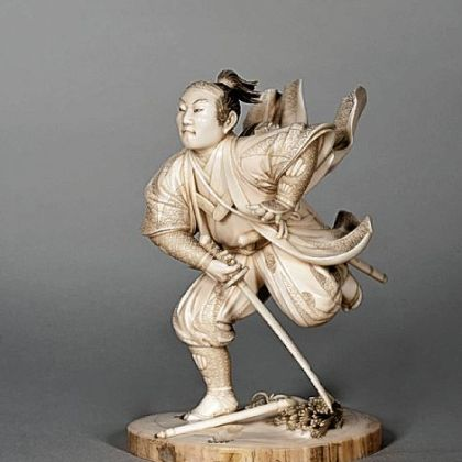 """Figure of Soga Goro Fleeing,"" an ivory carving by Maru Ki, is part of a Carnegie Museum of Art exhibition of rarely shown Japanese woodblock prints and Japanese ivory carvings acquired by H.J. Heinz. The show opens March 30."