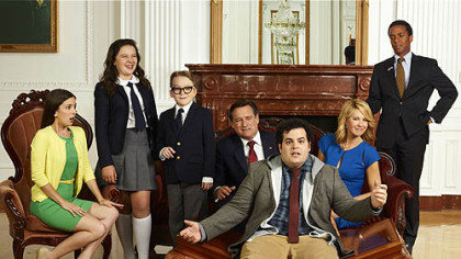 "Josh Gad is front and center in he cast of ""1600 Penn,"" about a dysfunctional family in the White House. From left: Martha MacIsaac as Becca, Amara Miller as Marigold, Benjamin Stockham as Xander, Bill Pullman as the president, Gad as Skip, Jenna Elfman as the first lady and Andre Holland as Marshall Malloy."
