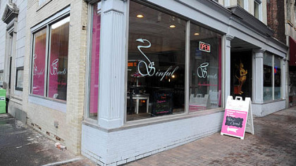 This is the exterior of Sinful Sweets, one of several Downtown businesses that participated in the Pittsburgh Downtown Partnership's Paris to Pittsburgh Facade grant program.